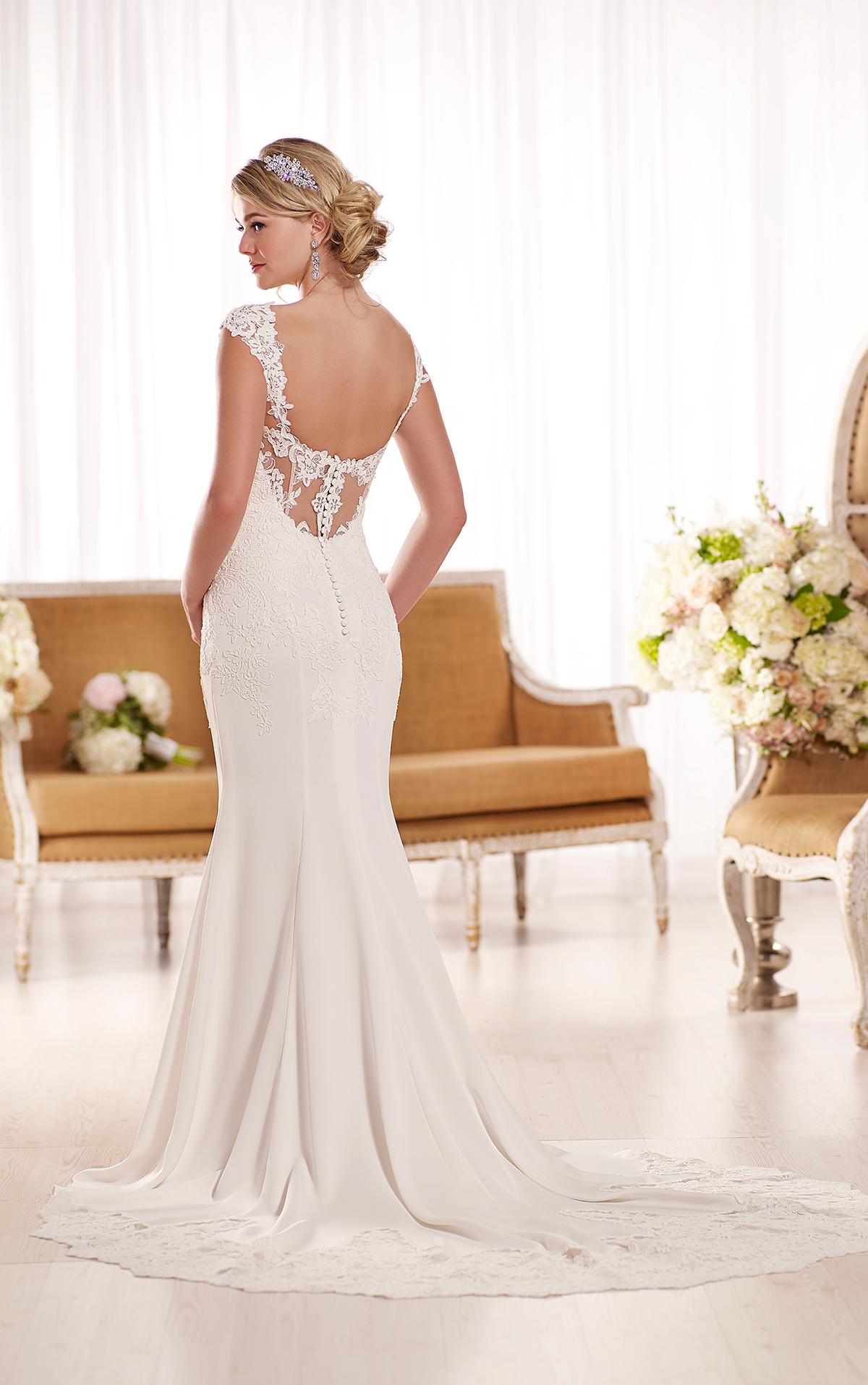 Essense d1897 fit and flare lace wedding dress 1299 for Essense of australia wedding dresses