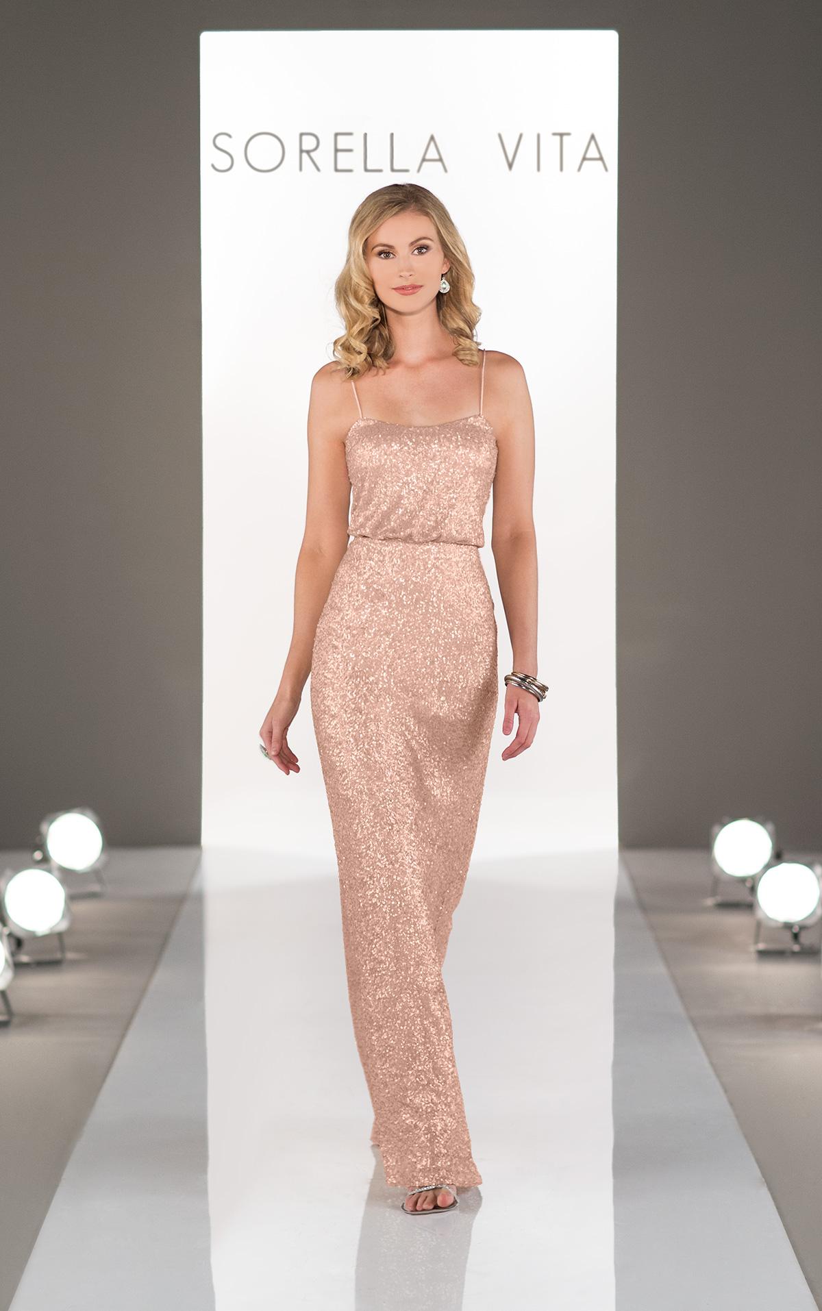 Sorella vita 8690 rose gold bridesmaid dress 259 for Metallic bridesmaid dresses wedding