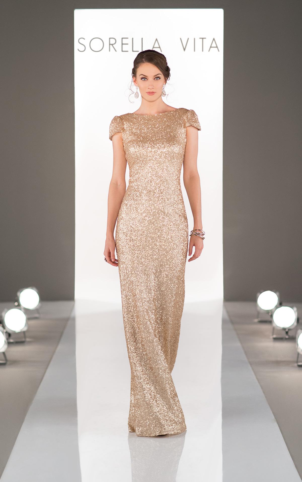 Sorella vita 8718 gold bridesmaid dress 279 for Metallic bridesmaid dresses wedding