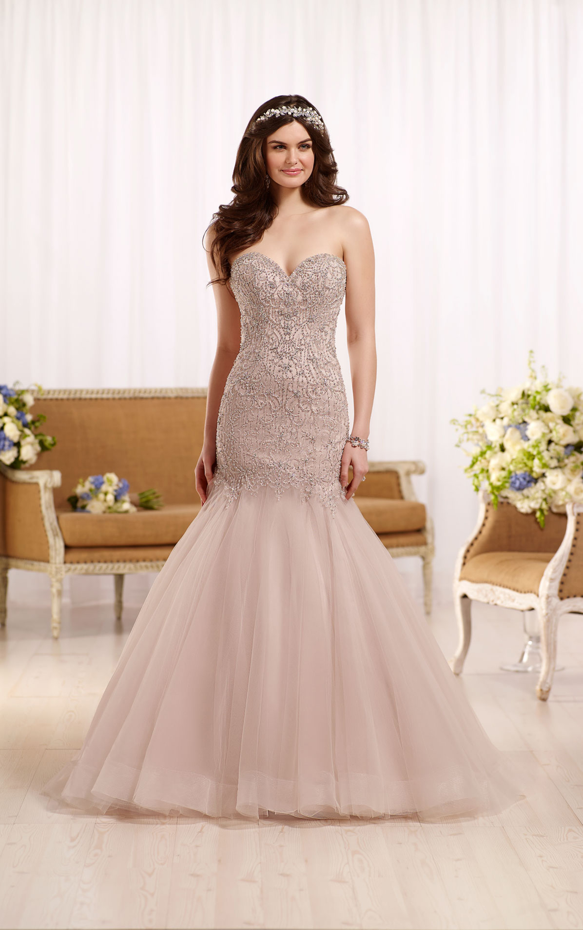 Essense D2195 Fit & Flare Wedding Dress beading & embroidery