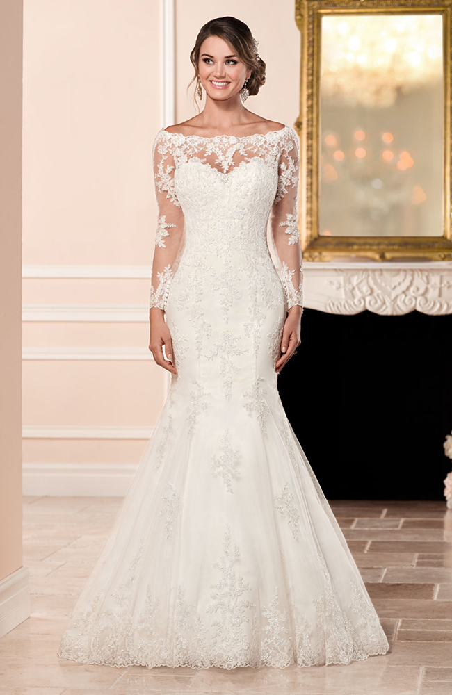Stella york 6353 fit flare wedding dress embroidered lace for Wedding dress shops york