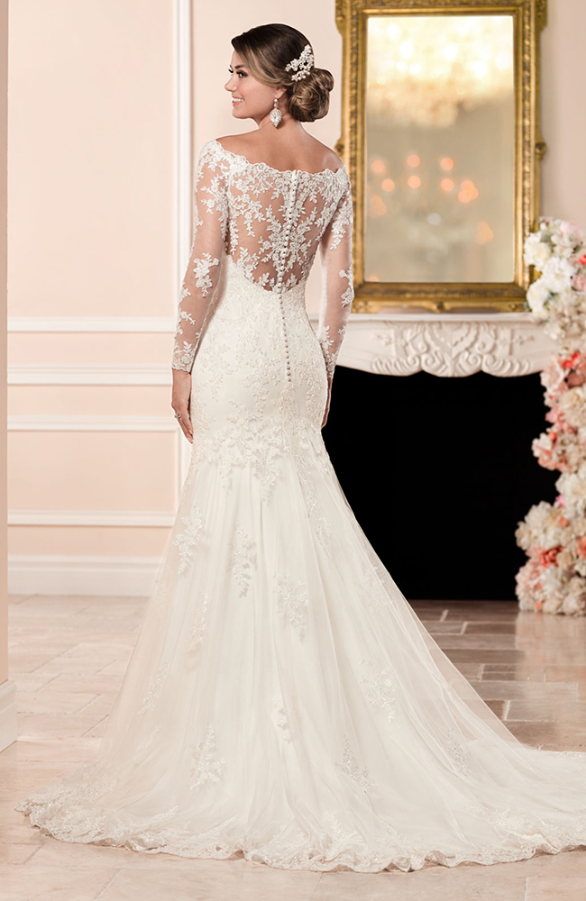 Stella york 6353 fit flare wedding dress embroidered lace for Wedding dress pick up style