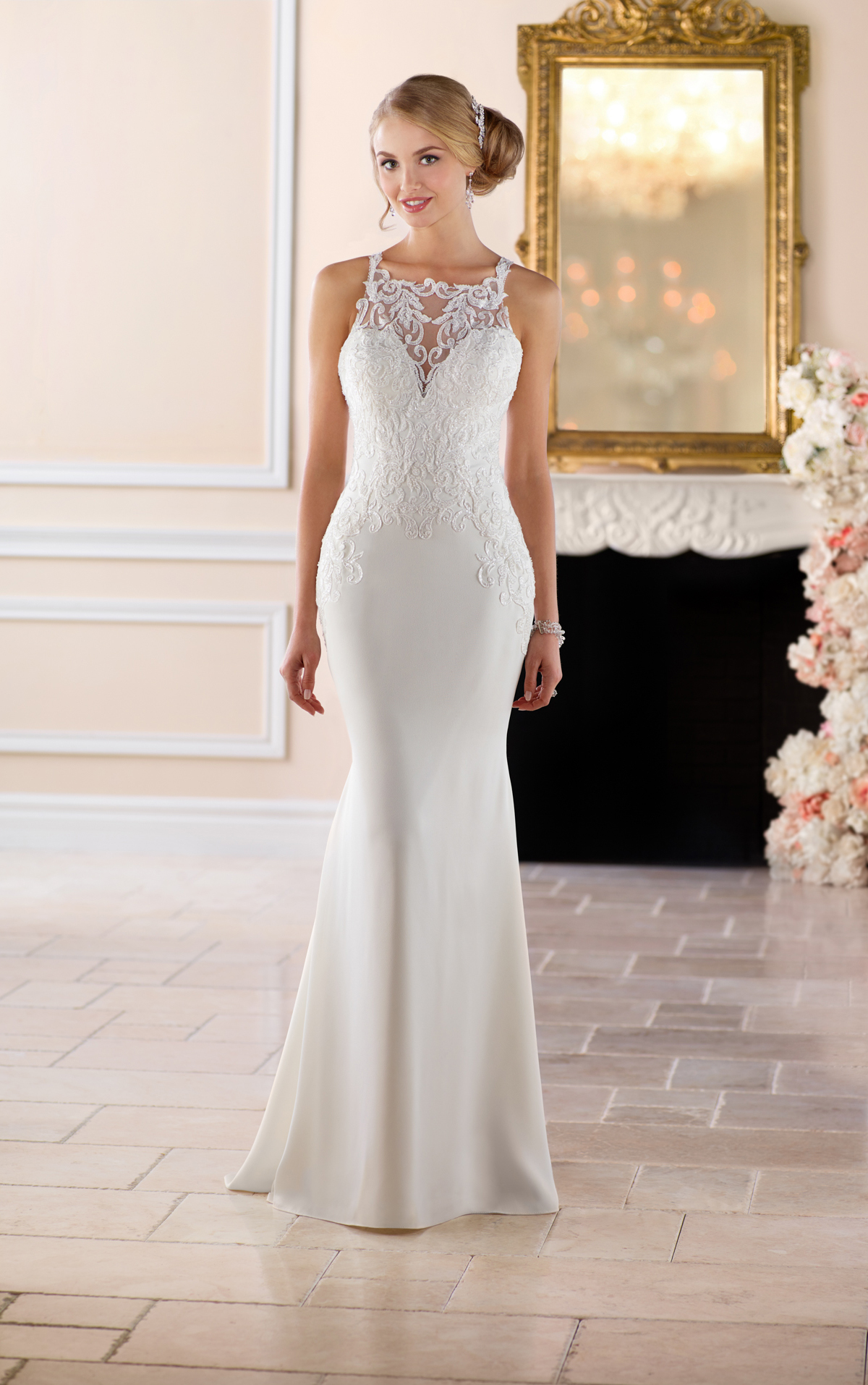 Stella york 6404 high neck sheath wedding dress lace for Wedding dress shops york