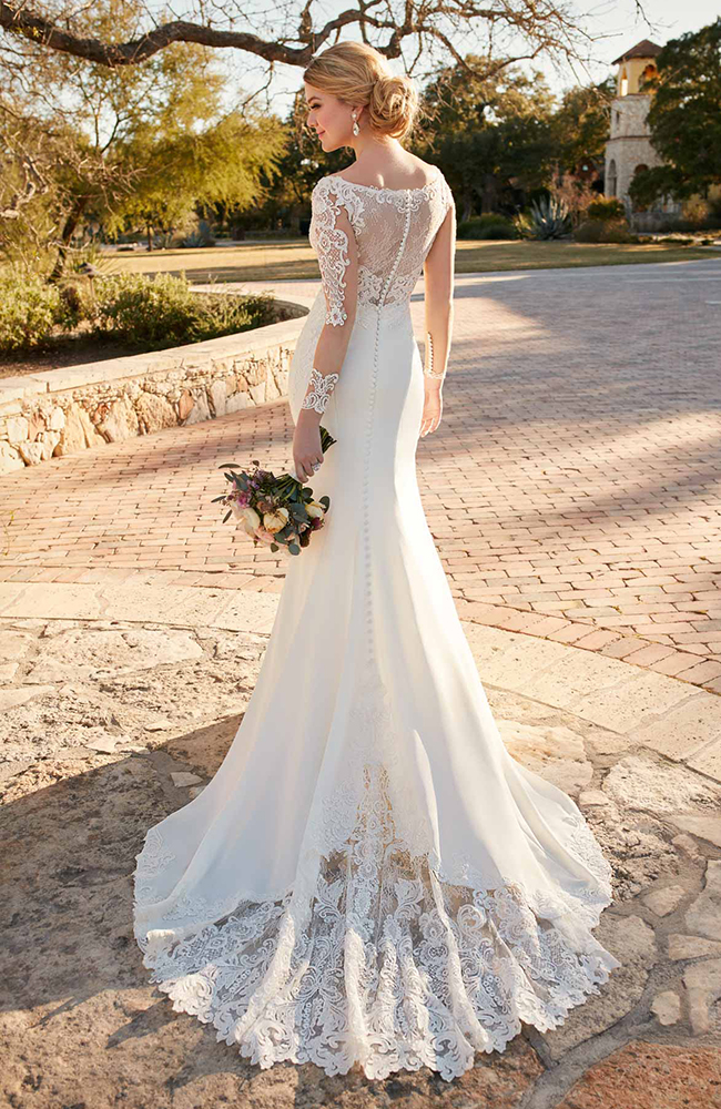 Essense D2124 Long Sleeve Lace Hollywood Inspired Wedding Dress
