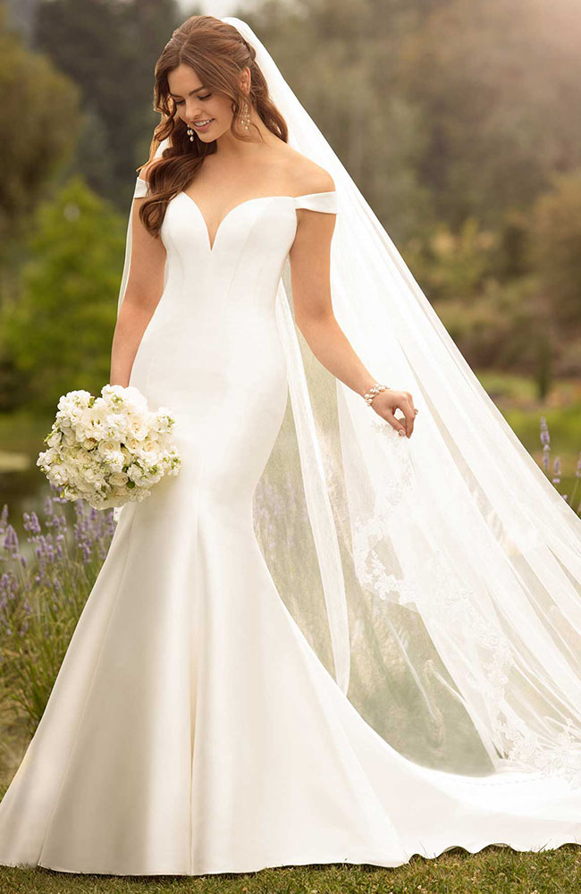 Essense D2477 off-the-shoulder Mikado wedding gown - Price £1199