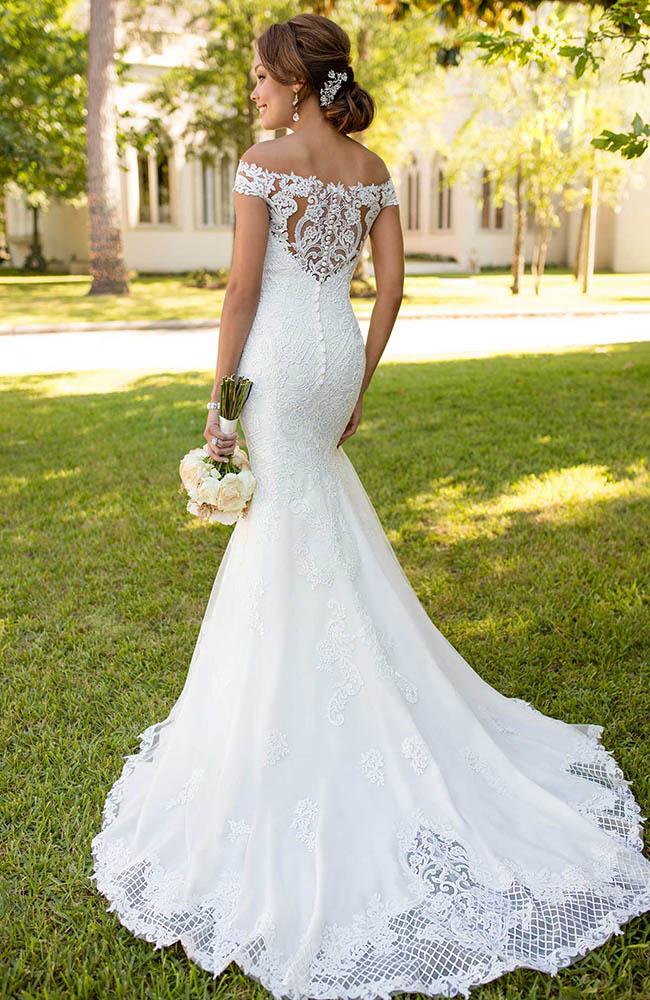 Stella york 6404 high neck sheath wedding dress lace for Wedding dress fabric store