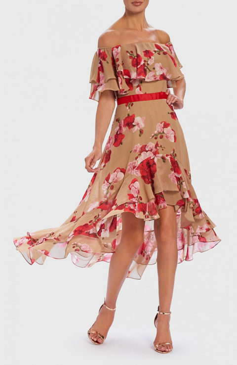 Forever Unique Nude And Red Floral 1