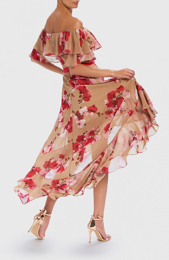 Forever Unique Nude And Red Floral 2